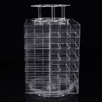 Practical Acrylic Rotating Make Up 80 Lipsticks Holder Display Stand Clear Organizer Storage Rack Cosmetic Case Box Container