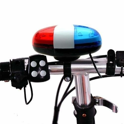 USHOT 6 LED 4 Sounds Horn Bell Ring Police Car Light Trumpet For Bike Bicycle AS Show One Size