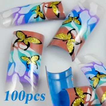 100 Stunning Gold Butterfly Colorful False French Acrylic Nail Art Tips
