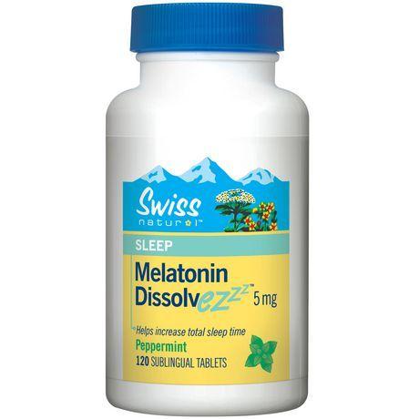Swiss Natural Melatonin Dissolve Ez 5mg 120 Tablets Increase Sleep Peppermint