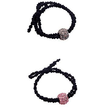 Fancyin 2 pieces Luxury Crystal rhinestones ball Elastic hair band ties