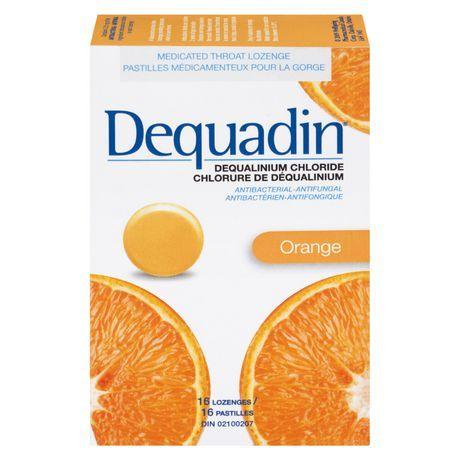 Dequadin Medicated Throat Lozenges - Orange / Provides Antibacterial & Antifungal Relief From Sore Throat & Mouth Sores