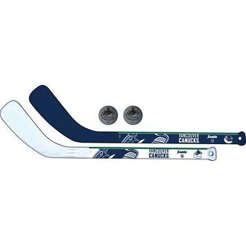 Franklin Sports NHL Vancouver Canucks  Mini Hockey Player Stick Set - 2 stick and 2 ball set