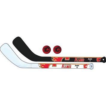 Franklin Sports NHL Calgary Flames Canadiens Mini Hockey Player Stick Set - 2 stick and 2 ball set