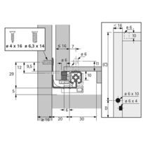 Coulisse bois quadro 25 stop control - Profondeur intérieur de caisson mini : 413 mm - Longueur : 400 mm