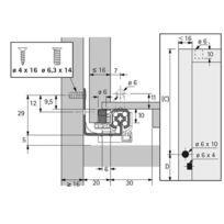 Coulisse bois quadro 25 silent system - Profondeur intérieur de caisson mini : 363 mm - Longueur : 350 mm