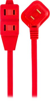 Cordinate Designer Extension Cord, 3-Outlet, Red, 8 ft. Cord