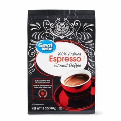 Great Value Espresso Coffee Ground, 12 oz