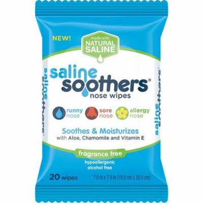 3 Pack - Saline Soothers Nose Wipes, Soothe & Moisturize with Aloe, Chamomile, & Vitamin E, Fragrance Free 20 ea