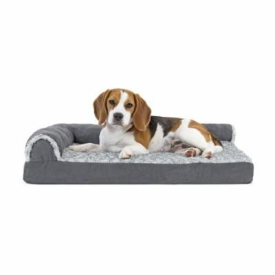 FurHaven Two-Tone Faux Fur & Suede Deluxe Chaise Lounge Cooling Gel Top Sofa Pet Bed Dog Bed