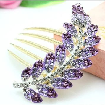 EYX Formula Korean Vintage Jewelry Rhinestone hair clip hairpin for hair dressing ,Lovely Crystal Purple Leaves hairpins hair comb for Women Ladies Girls