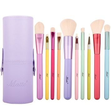 Matto Makeup Brushes 10-Pieces Colorful Wood Handles Synthetic Hairs Makeup Brush Set with Cosmetic Brush Holder