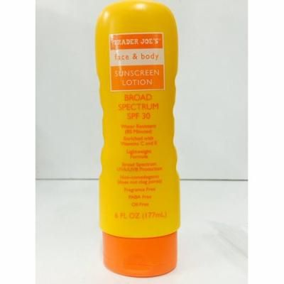 Trader Joe's Face and Body Sunscreen Lotion Broad Spectrum SPF 30