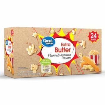 Great Value Flavored Microwave Popcorn, Extra Butter, 2.55 Oz, 24 Ct