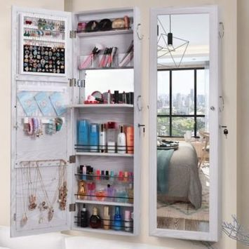 Ktaxon Mirrored Jewelry Armoire Wall Cabinet Storage Makeup Organizer Hang Mount White