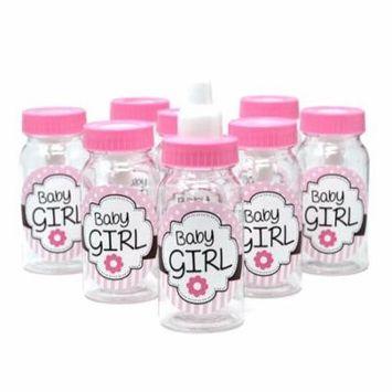 Baby Girl Plastic Baby Milk Bottle Favors, Pink, 4-1/2-Inch, 8-Count