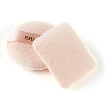 Eshion Professional Soft Cotton Makeup Cosmetic Body Face Loose Powder Puffs 2pcs Round & Rectangle