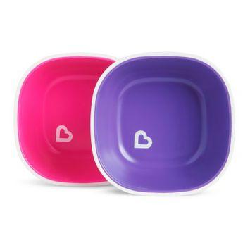 Munchkin Splash Toddler Bowls, 2 Pack Pink/Purple