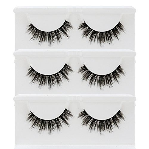 BEPHOLAN 3 Pairs False Eyelashes Synthetic Fiber Material| 3D Mink Lashes| Natural Round Look| Soft & Lightweight| 100% Handmade &Cruelty-Free| XMZ27