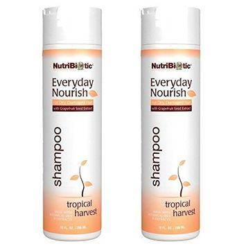 NutriBiotic Everyday Nourish Tropical Harvest Shampoo (Pack of 2) with Grapefruit Seed Extract, Tea Tree Oil, Soy Protein and Sunflower Oil, 10 fl. oz.