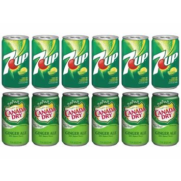 Variety Soda Drinks - 12 Pack of 7.5 Fluid Ounce Mini Cans - (6) 7up and (6) Canada Dry Ginger Ale