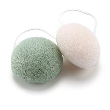 Aogo Natural Konjac Sponge Face Ultra SPA Cleansing System Skin Exfoliating Personal Care, 2 Pcs