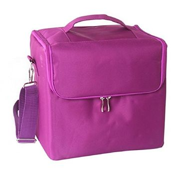 Lookatool Professional Makeup Bags Cloth Cosmetics Boxes Portable Shoulder-style Artists (purple)