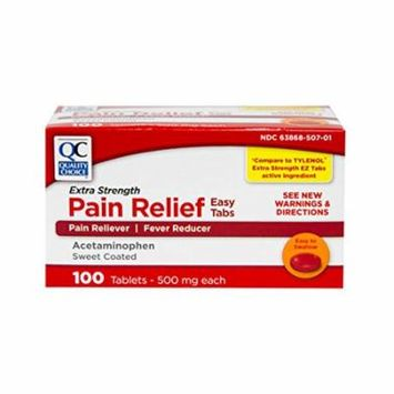 5 Pack Quality Choice Extra Strength Pain Relief 500mg Acetaminophen 100 Each