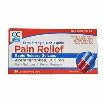 5 Pack Quality Choice Extra Strength Non-Aspirin Rapid Release Pain Relief 50 Ea