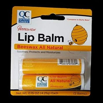 6 Pack Quality Choice Beeswax Lip Balm All Natural 2 Tubes 0.15oz Each