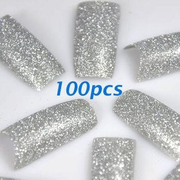 350buy 100pcs Silver Glitter False French Acrylic Nail Art Tips