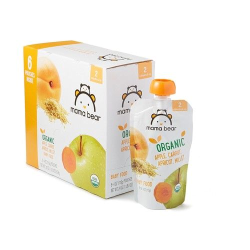 Amazon Brand - Mama Bear Organic Baby Food, Stage 2, Apple Carrot Apricot Millet, 4 Ounce Pouch