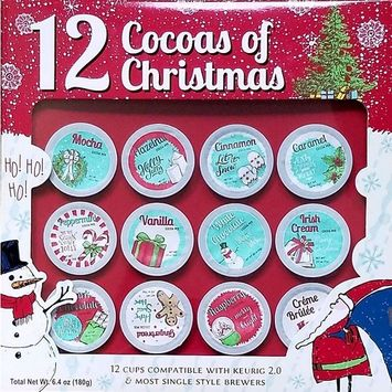 12 Cocoas of Christmas - 12 K Cups Hot Chocolate - Premium Holiday Cocoa - Gift Set