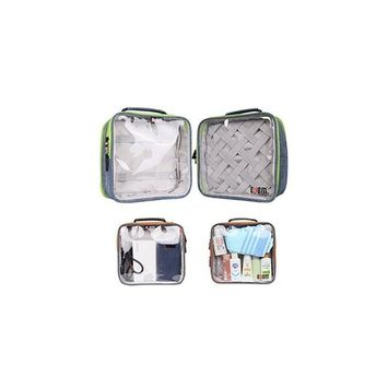 bubm clear travel gear organizer / electronics accessories bag/cosmetic bag-double square blue