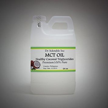 Dr. Adorable - 100% Pure Premium MCT Oil derived from Organic Coconut Oil Pure Medium-Chain Triglyceride- 64 oz