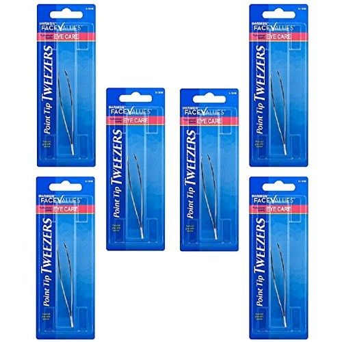 Pack of 6 - Harmon Face Values Pointed Tweezers