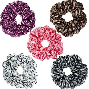 Hair Styling Hairstyling Set Kit of 5pcs Satin Scrunchies Hairbands Hair Bands Ponytails Holders Bobbles In Different Colors