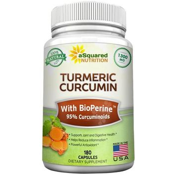 aSquared Nutrition Pure Turmeric Curcumin 1300mg with BioPerine Black Pepper Extract -180 Capsules- 95% Curcuminoids, 100% Natural Tumeric Root Powder Supplements, Natural Anti-Inflammatory Joint Pain