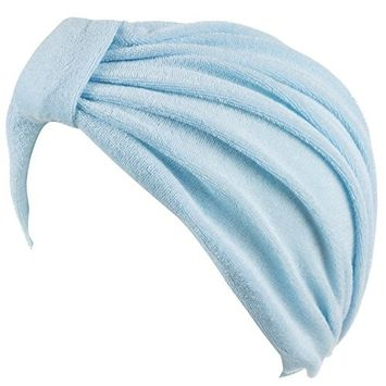 Hold'Em - Soft Terry Cloth Turban Head Cover with Reversible Knot or Button Front -Light Blue [name: actual_color value: actual_color-lightblue]