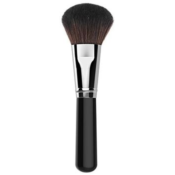 Luxspire Professional Makeup Brush, Single Handle Long Round Head Soft Face Mineral Powder Foundation Blush Brush Cosmetics Make Up Tool, Black & Silver