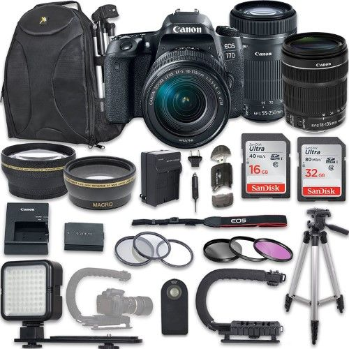 Canon EOS 77D DSLR Camera with Canon EF-S 18-135mm f/3.5-5.6 IS STM Lens + Canon EF-S 55-250mm f/4-5.6 IS STM Lens + NEW VIDEO BUNDLE KIT + EXTRA MEMORY CARDS