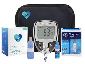 OWell Bayer Contour NEXT EZ Complete Diabetes Blood Glucose Testing Kit, METER, Test Strips, Lancets, Lancing Device, Control Solution, Manual, Log Book & Carry Case