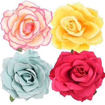 MISM Women Rose Flower Corsage 4PCS Girl's Hair Clips Hair Accessories Brooch-4pcs
