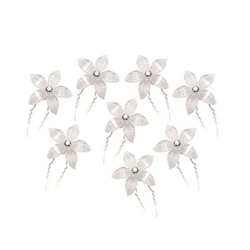 Delicate Women's Rhinestone Decorated U-Shaped Hairpins Hair Clips (White)