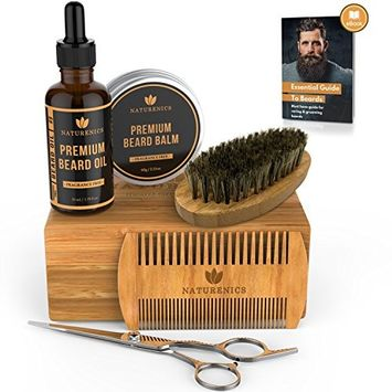 Naturenics Premium Beard Grooming & Trimming Kit for Mens Hair Care | Unscented Beard & Mustache Growth Oil, Wax Balm Butter, Brush, Dual Teeth Comb, Barber Scissors with Bamboo Gift Box & eBook