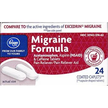 Kroger Migraine Formula, 24 caplets, Compare to active ingredients of Excedrin Migraine