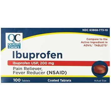 Quality Choice Ibuprofen 200mg. Tablet 100-Count Boxes (Pack of 4)