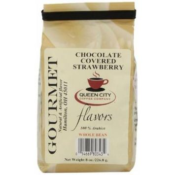 Queen City Chocolate Covered Strawberry Flavored Whole Bean Coffee, 8-Ounce Bags (Pack of 3)