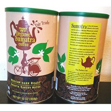 Trader Joes Fair Trade Organic Sumatra Coffee - Pack of 2 - Medium Dark Roast- Smooth Earthy Notes 13 Oz- 100% Arabica Whole Bean Coffee