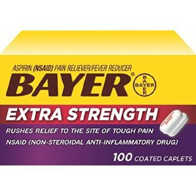 Bayer Extra Strength Bayer 500mg, 100 Count Pack of 2